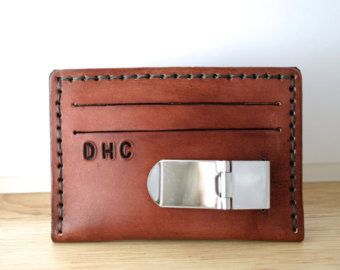 Mens leather credit card wallet with money clip by FatCatLeather