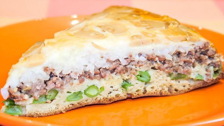 Заливной пирог с мясом, грибами и сыром – очень вкусный и необычный! Рец...