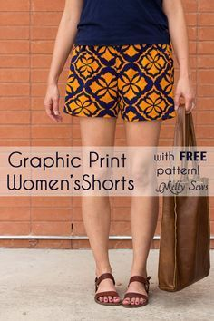 Sew Womens Shorts with this FREE pattern and tutorial - Graphic Print Shorts by Melly Sews