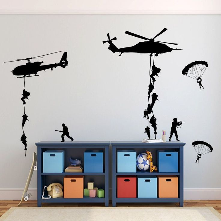 Wall Decal Boys Room Army Soldiers Stickers Helicopters, Parachutes, Fighting GI Joe Men, Boys Room Vinyl Decals Battle Scene Kids Playroom by CustomVinylDecorShop on Etsy https://www.etsy.com/listing/264781399/wall-decal-boys-room-army-soldiers