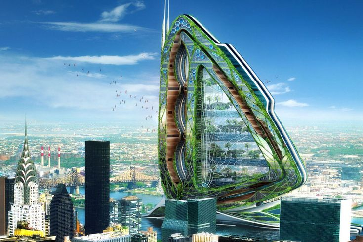 """With his Dragonfly skyscraper, Vincent Callebaut takes the almost worn-out """"vertical urban farm"""" concept and gives it a massive dose of hallucinogens. At more than two and a half times the height of the Empire State Building, the dragonfly wing–shaped über-farm would tower over Manhattan, housing everything from apricot orchards to livestock pastures."""