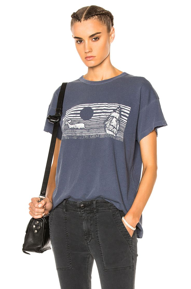 Image 1 of The Great Boxy Whale Graphic Tee in Navy & White