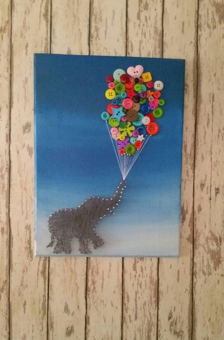 String Art of Elephant with Button balloons