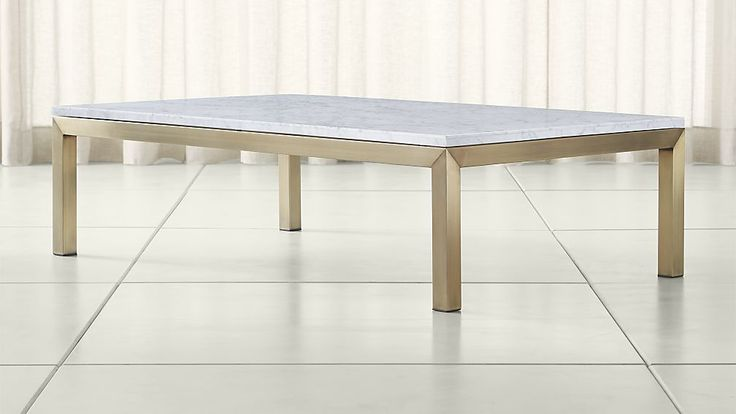 Parsons White Marble Top/ Brass Base 60x36 Large Rectangular Coffee Table | Crate and Barrel