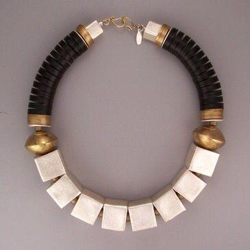 Africa black vulcanite/brass...Thailand fine silver...brass washers... teri@teripelio.com