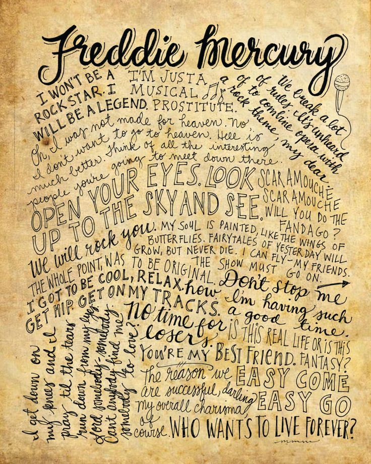Freddy Mercury Queen Quotes - 8x10 handdrawn and handlettered printed on antiqued paper by mollymattin on Etsy