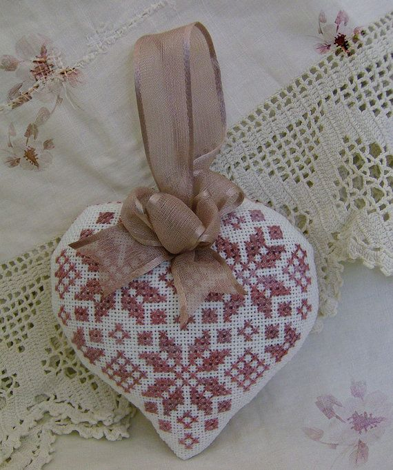 Cross stitch heart tiny cushion by GraceAndWhimsy on Etsy, $17.00