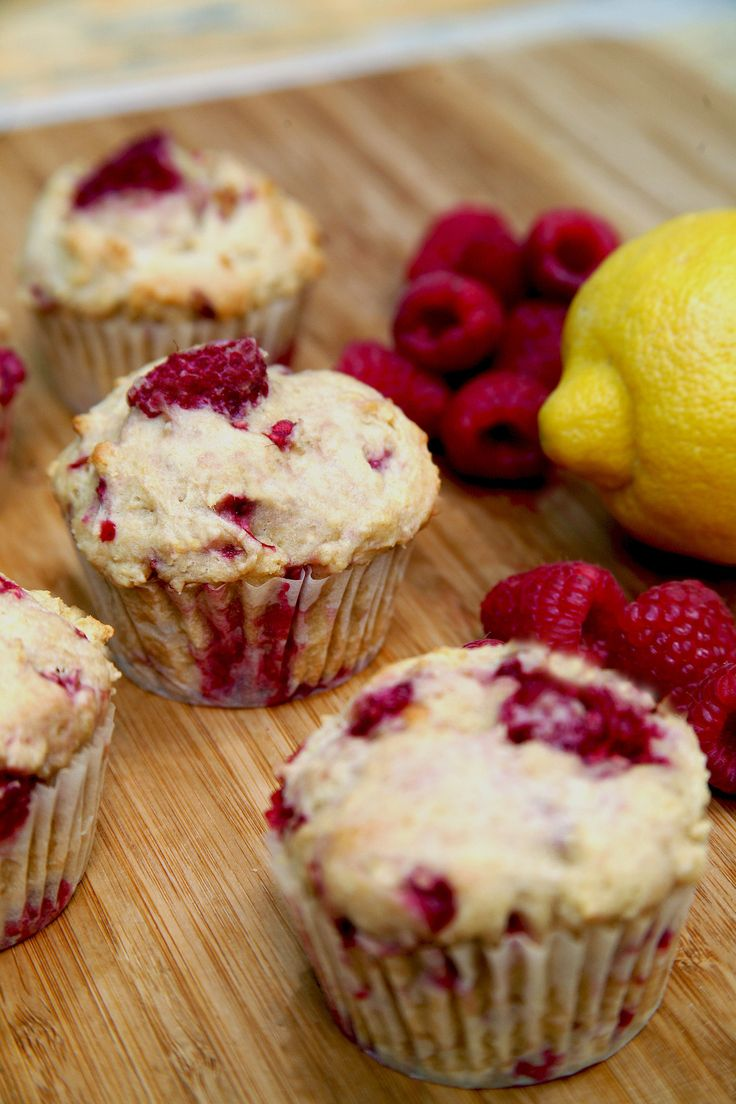 Low-Sugar, High-Protein Lemon Raspberry Muffins. Berries are finally in season! Pick up a pint, and make these moist and naturally sweet muffins. Made with Greek yogurt instead of buttermilk, they're a tasty way to get some protein without all the fat. These are so light and summery, with bursts of juicy raspberries — perfect to grab with your morning smoothie or to bake up for a weekend brunch.