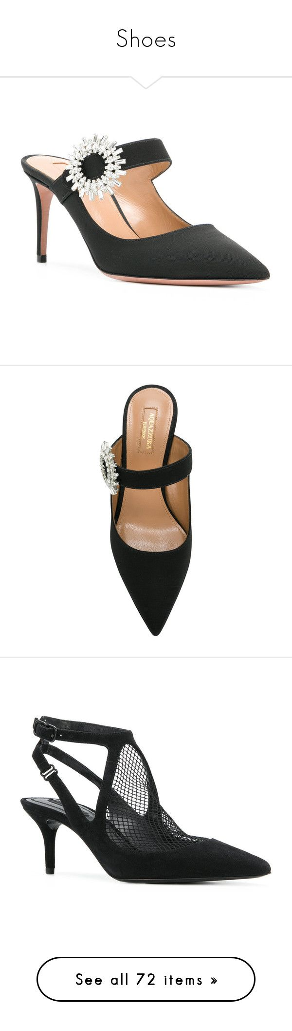"""""""Shoes"""" by bliznec ❤ liked on Polyvore featuring shoes, embellished shoes, ankle strap shoes, black shoes, pointy toe shoes, black mules, black pointed toe shoes, mule shoes, leather shoes and pumps"""