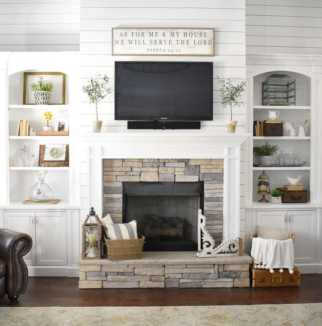 im not a fan of the shiplap but i do like the overall look farmhouse fireplacefireplace stonefireplace designfireplace. beautiful ideas. Home Design Ideas