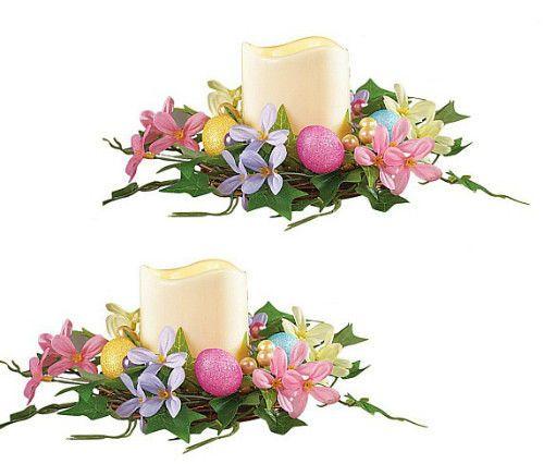 Easter Egg Floral Centerpiece & LED Candle Set Easter Spring TableTop Decoration #SmartDealsMarket #FloralCenterpieceDecoration