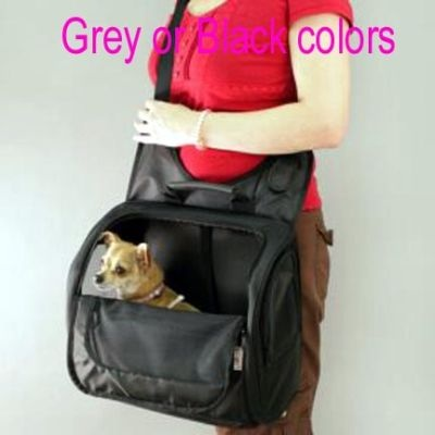 Gray or Black nylon Pet Messenger style Dog Cat Carrier Shoulder Bag Puppy Tote