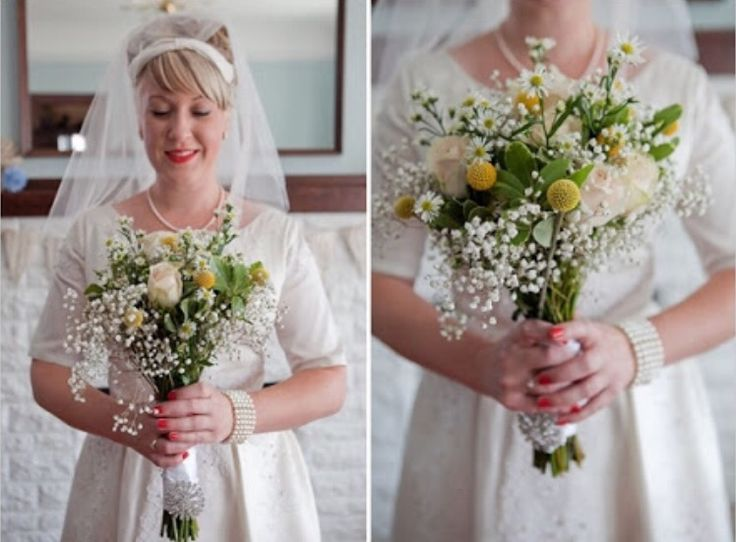 Baby's breath with roses and natives for bride's bouquet