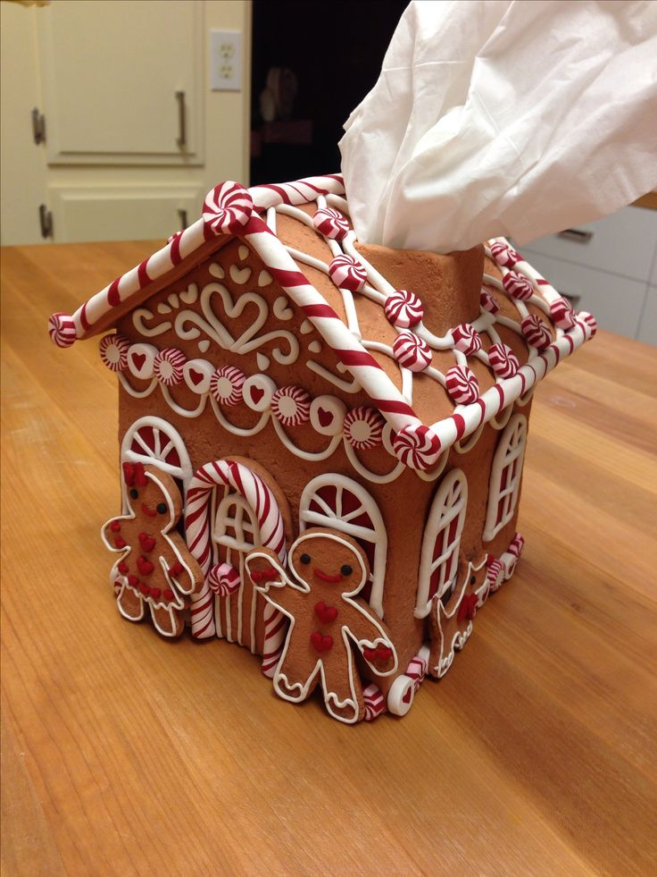 Faux Gingerbread House tissue box cover - made of polymer clay by Vlasta
