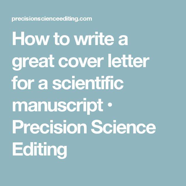 Cover Letter Manuscript Submission Scientific Journal