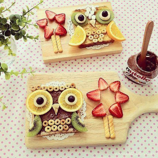 nutella, cereal & fruits owl toast breakfast idea