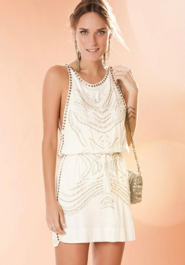 white summer dress with bronze embellishment