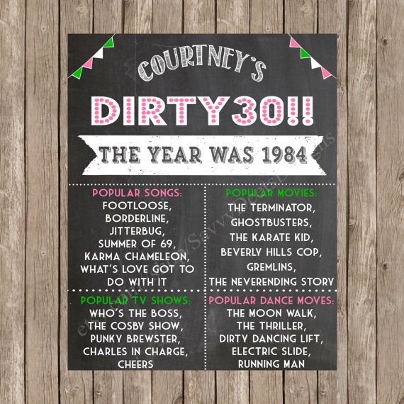 Birthday Sign Ups: Dirty 30 Birthday Chalkboard Sign Printable