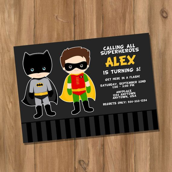 Batman and Robin Inspired Super Hero Birthday Party Invitation with Photo (Digital - DIY) on Etsy, $10.00