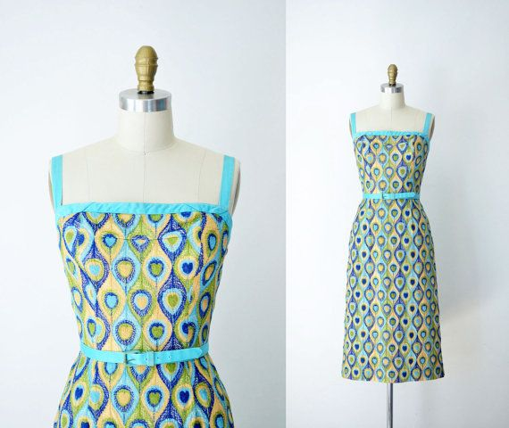 1950s  Embroidered Wiggle Dress / 50s Carolyn by FemaleHysteria, $185.00