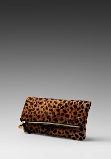 Clare Vivier Foldover Clutch in Leopard