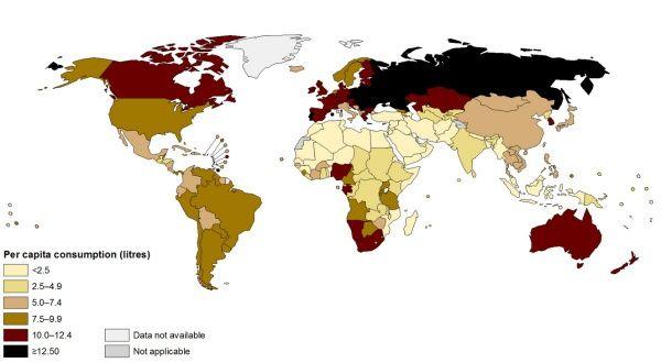 La carte des pays qui boivent le plus d'alcool au monde | Slate