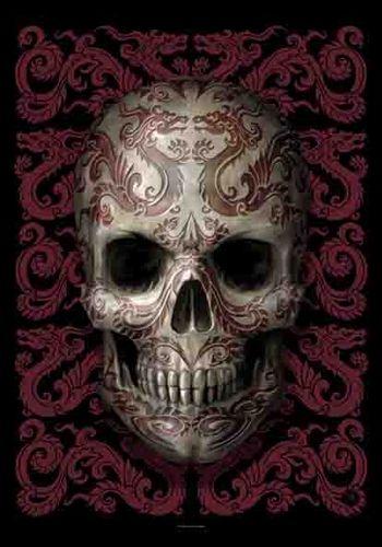 Drapeau ANNE STOKES - Oriental Skull - http://rockagogo.com Illustration Tete de…