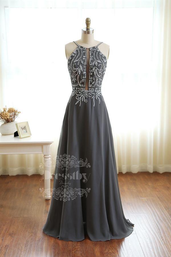 94abb694cb Dark Gray sequin long prom dress