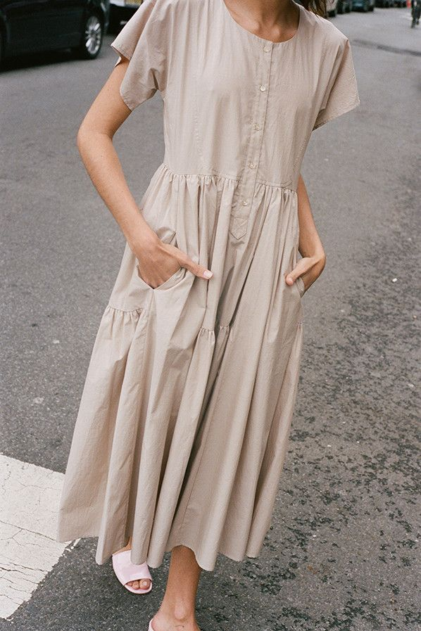 North Magnetic Pole - Florenza Dress in any color BUT this Tan Paper Cotton-Maryam Nassir...