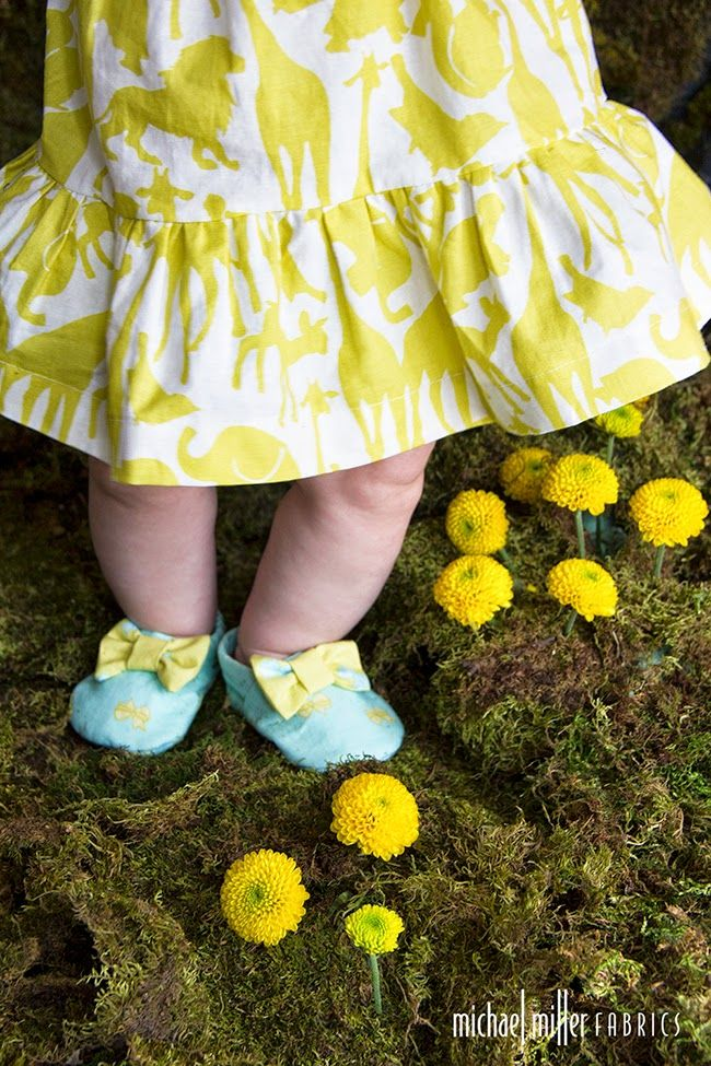 """Baby girl dress and shoes in Cynthia Rowley Spring """"Oh Baby"""" fabric line for Michael Miller Fabrics; photo and style by Trenna Travis Design Studio"""