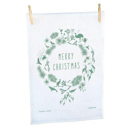 Australian wreath tea towel CHRISTMAS IN #HTFSTYLE