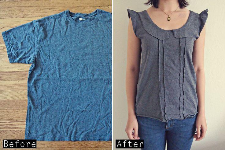 DIY T Shirt into Ruffled Peter Pan Collar Top – Tシャツ リメイク