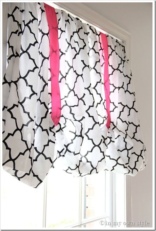 """Pinner said: """"Fitted Sheet No-Sew Window Treatment. This is so cute! Maybe I'll do this for my craft room/office since I don't like the idea of not having full length curtains in the living room."""" I agree...might do the same thing when I get my craft room!"""