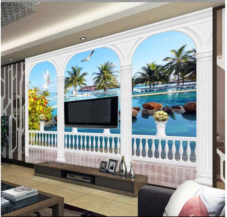 Дешевое Бесплатная доставка современные стены 3D фрески обои, HD эгейское средиземноморском 3D росписи для тв диван фоне стены papel де parede, Купить Качество Обои непосредственно из китайских фирмах-поставщиках:                                                     Примечание:
