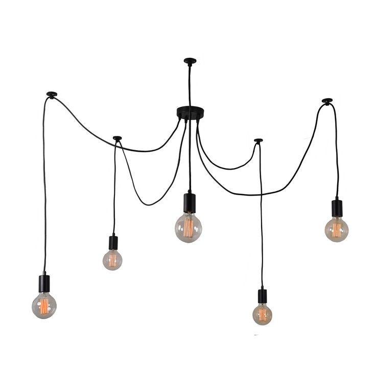 Suspension 5 lumières de la collection Spider, composée d'une rosace de plafond et de 5 douilles en métal noir agrémentées de cordons d'alimentation et d'élingue gainés de textile noir coordonn...