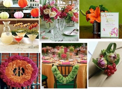 Bright Multicolor Party Inspiration   - Cocktail and hors d'oeuvres station with bright cocktails, unique food presentation & pretty paper lanterns   - Small and sweet pink, green & orange floral arrangements  - Save the date invitations  - Pink and orange flowers surround a monogram for a pretty reception wreath decor piece  - Table setting featuring orange tablecloths, pink napkins, green floral chair drapes & a green and pink candle/floral centerpiece  - Colorful boutonniere