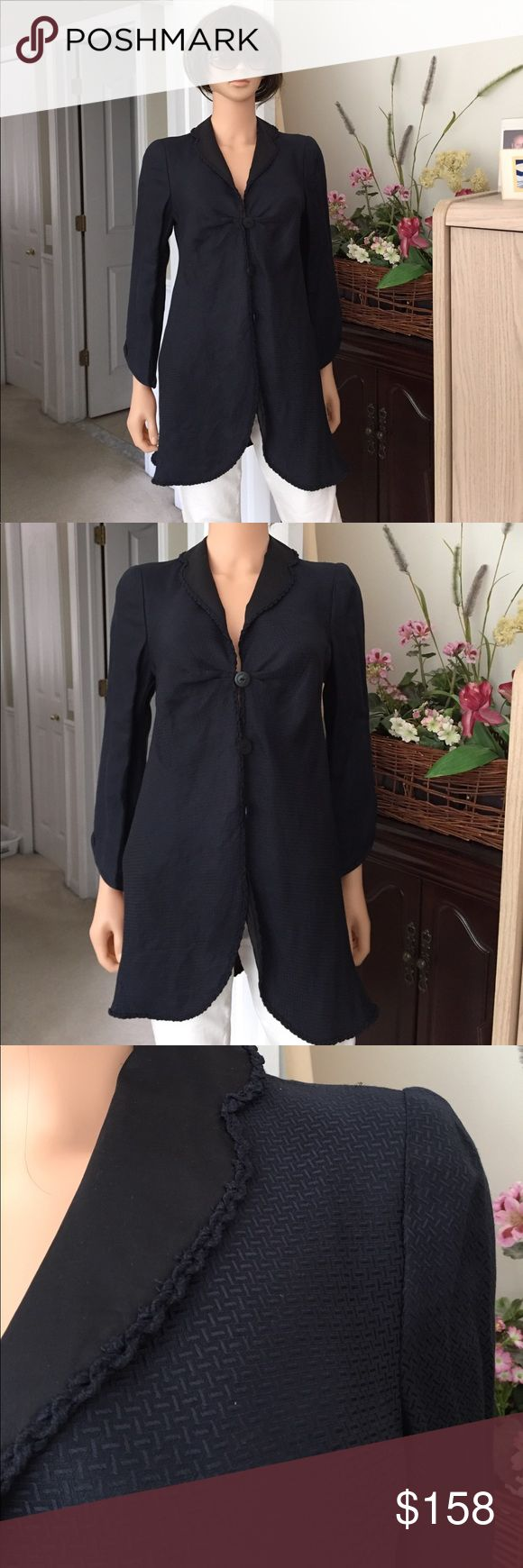 💐ARMANI ...navy blue lined dressy jacket NWT....GIORGIO ARMANI dark navy blue 60% linen & 40% acetate outer, 100% silk lining, jacket, made in Italy, size 6, Italian size 40, see photos, excellent condition, bought for a dinner party but decided to wear something else, in the closet it went, time to sell, no trade, no pp, smoke and pet free environment Giorgio Armani  Jackets & Coats