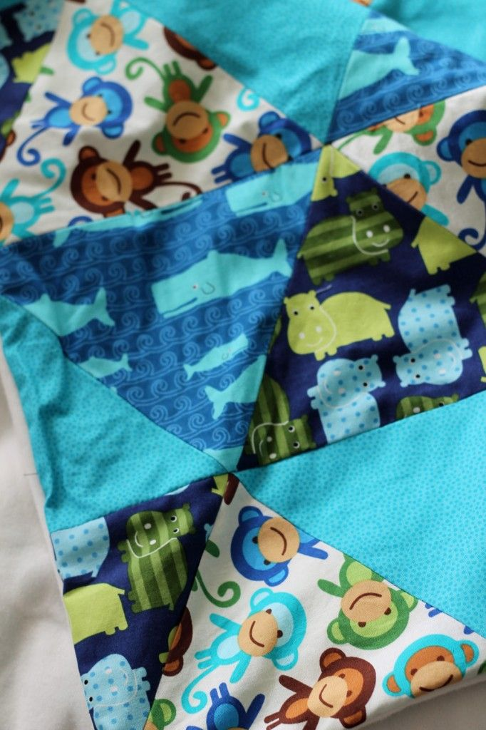 diy patchwork baby blanket | babydecke patchwork dreiecke