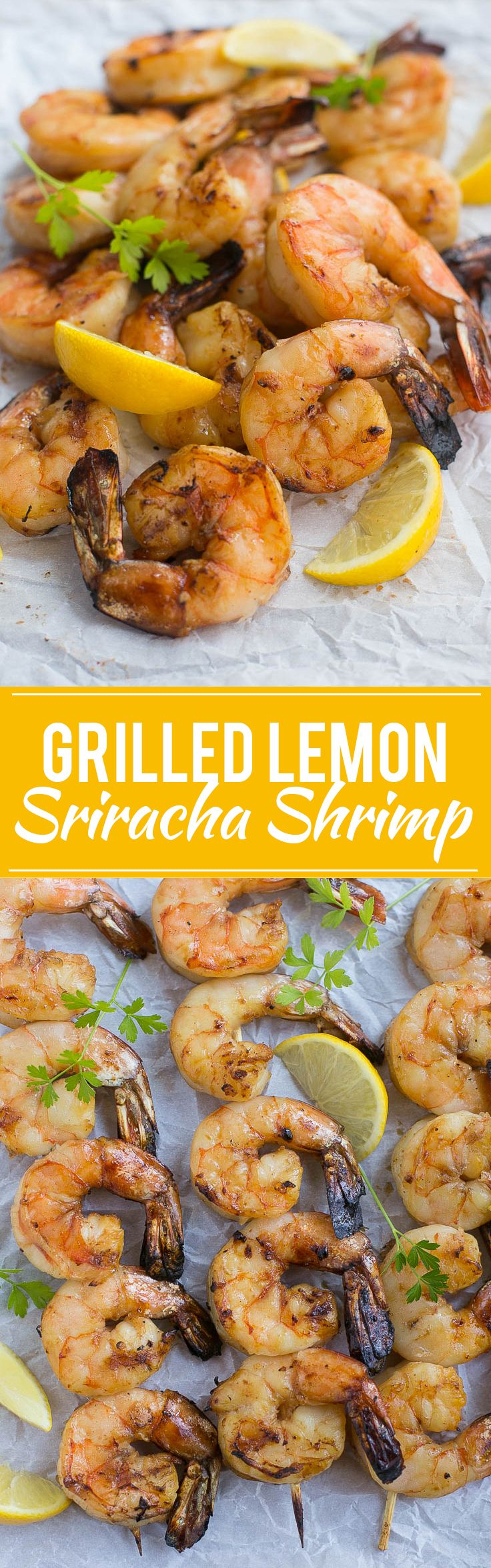 This recipe for lemon sriracha shrimp is large succulent shrimp in a flavorful marinade, threaded onto skewers and grilled to perfection. It's my family's favorite shrimp recipe! Ad