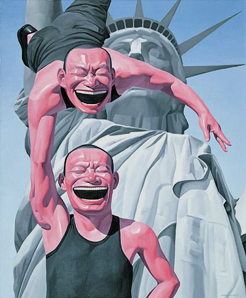 """ Beijing-based Yue Minjun is one of the most important artists of the Chinese avant garde movement, Cynical Realism. Minjun's work is characterized by a signature laughing figure which serves as a portrait of the artist. Upon greater inspection the smiling faces contain fear, animosity, and a sense of discomfort that is a product of facing reality in contemporary times."""