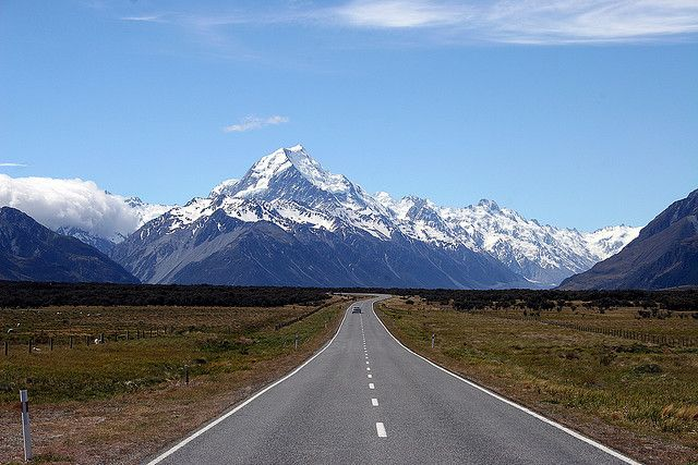 Driving in New Zealand is great: Neverending Roads, Favorite Places, Country Roads, Quiet Roads, Beautiful Places, Mount Cooking, Nice Places, Photo, New Zealand