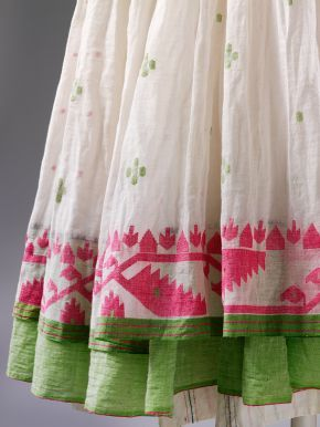 Jamdani dress (detail), designed by Aneeth Arora for Péro, cotton woven in West…
