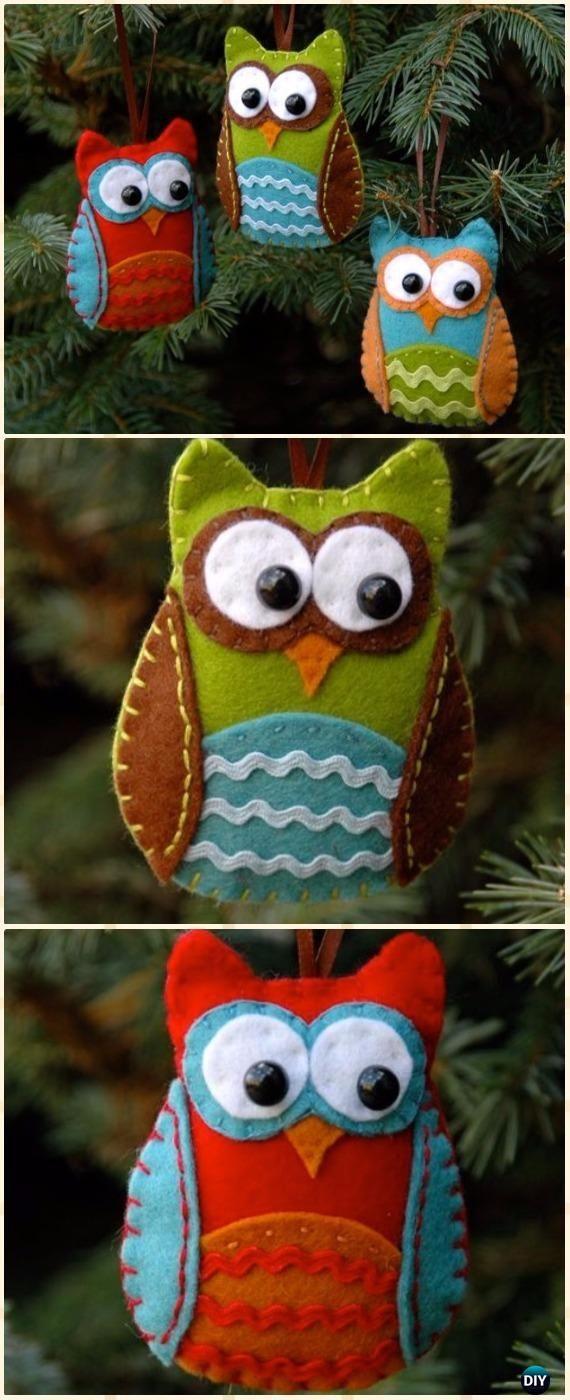 DIY Felt Owl Ornament Instructions - DIY Felt Christmas Ornament Craft Projects [Picture Instructions]