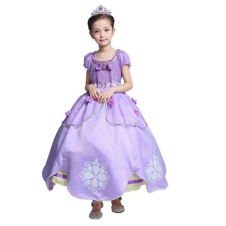EVER FAIRY Princess Sofia Dress Cotton Girl Purple Dress Big Petals Sophia Princess Dress Kids Rapunzel Costume Party Dress