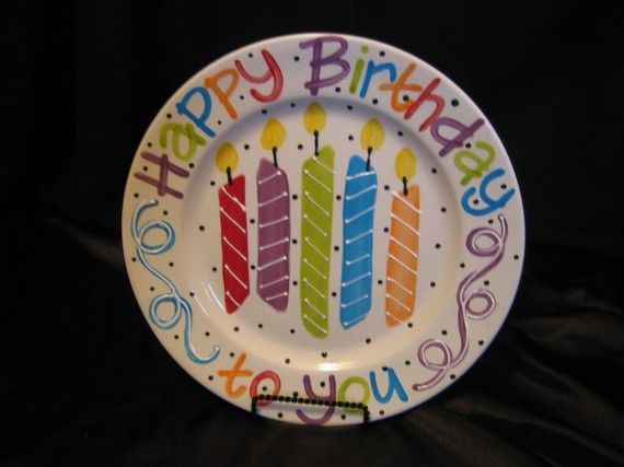 Happy Birthday plate celebration special person candle annual personalized family
