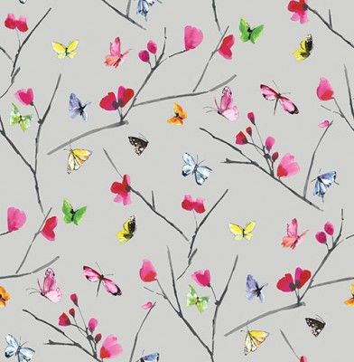 Mazarine (97530) - Albany Wallpapers - A stylish butterfly pattern bursting with confetti colours. Mazarine features multiple brightly coloured hand painted butterflies against rich coloured background. This is a non woven paste the wall product. Shown here in on a grey background - more colours are available. Please request a sample for true colour match.