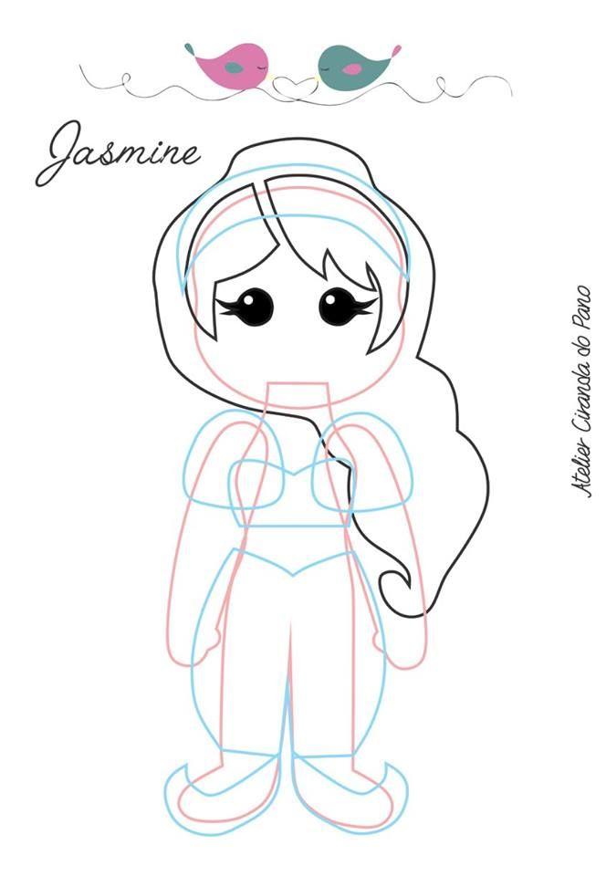 Boneca Princesa Jasmine com molde
