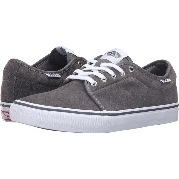 Vans Chukka Low Pro (Grey/White) Men's Skate Shoes ($52) ❤ liked on Polyvore featuring men's fashion, men's shoes, men's sneakers, grey, men's low top shoes, mens grey shoes, mens shoes, vans chukka low mens shoes and vans mens shoes