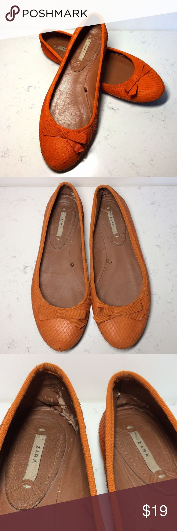 Zara Orange Flats In WELL USED condition has signs of wear on the inside soles with small marks around the edges back has signs of wear as well with soles that have marks. 014563761 Zara Shoes Flats & Loafers