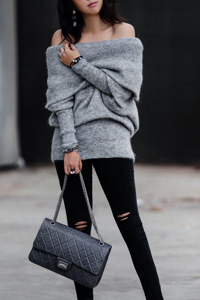 ACNE STUDIOS DAZE SWEATER, Cold shoulder sweater for fall, cold shoulder sweater trend, off shoulder sweater, chunky knits, fall trend, sweater trend, casual chic, grey out, rag & bone/JEAN Ripped Denim Leggings, Manolo Blahnik 'BB' Pointy Toe Pump, Chanel reissue 2.55 jumbo bag, dior so real sunglasses, street style